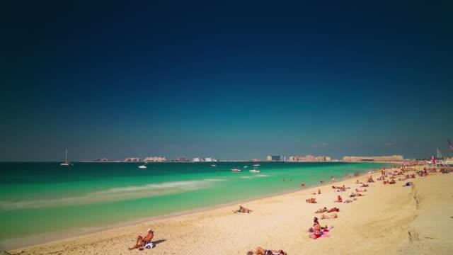 dubai marina sunny day famous beach  palm view 4k time lapse united arab emirates video