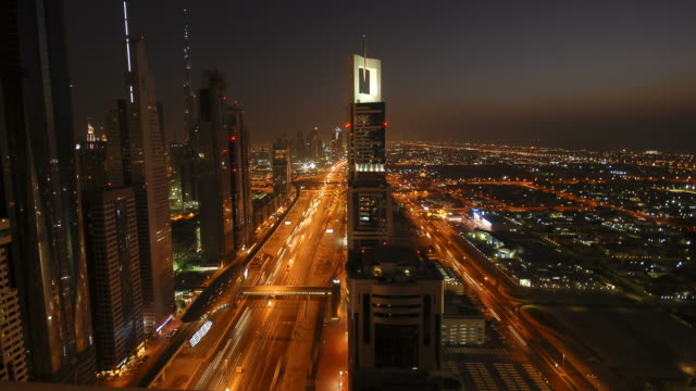Dubai Sheik Zayed road timelapse video