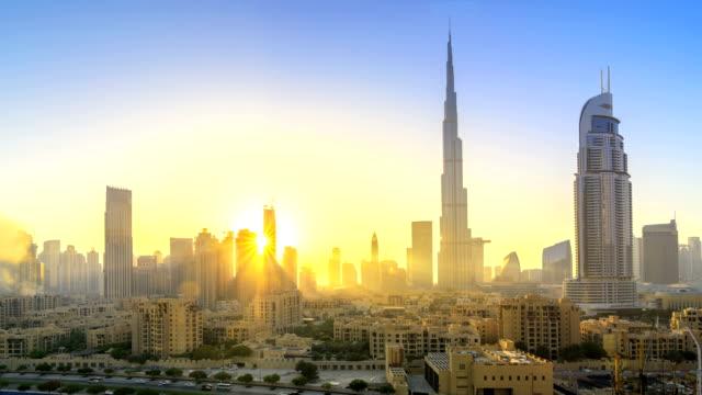 Dubai Skyline at dusk, time lapse