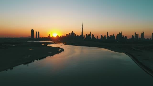 Dubai Skyline Sunset view from Sea