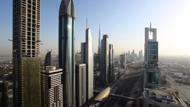 dubai skyscrapers - skyline at daylight video