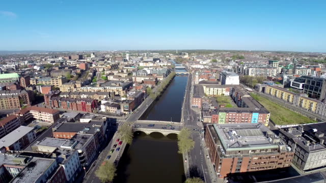 Dublin aerial video of river liffey video