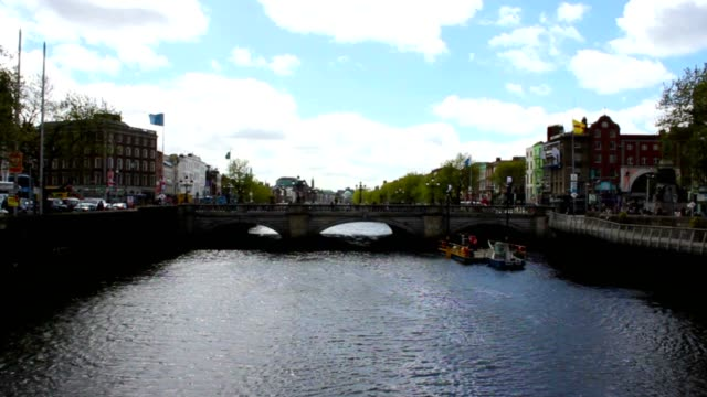 Dublin City and Liffey River, Ireland, Time Lapse video
