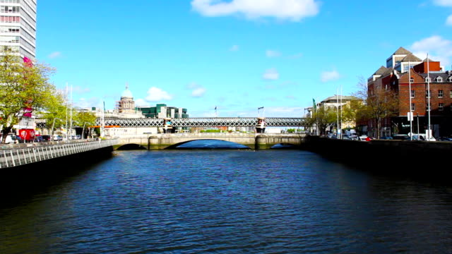 Dublin City and Liffey River, Real Time, Ireland video