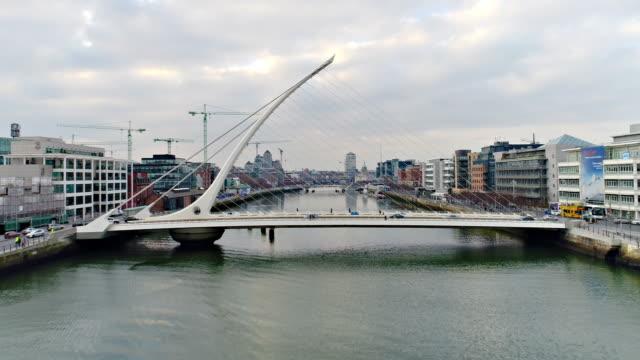 Dublin Ireland Flying over river Liffey towards town center video