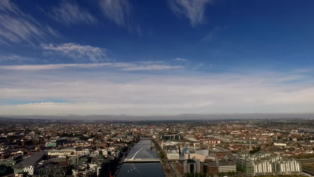 dublin skyline and river liffey, ireland - tilt down stock videos & royalty-free footage