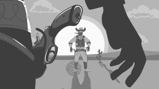 Duel Two cowboys Animation Retro Style