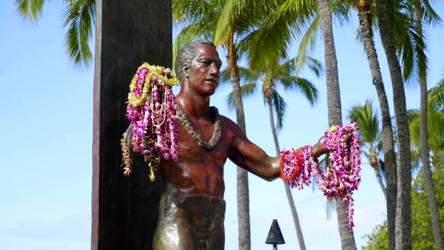 Duke's monument at waikiki beach in Honolulu in 4k slow motion 60fps High quality video of Duke's monument at waikiki beach in Honolulu in 4k slow motion 60fps waikiki stock videos & royalty-free footage