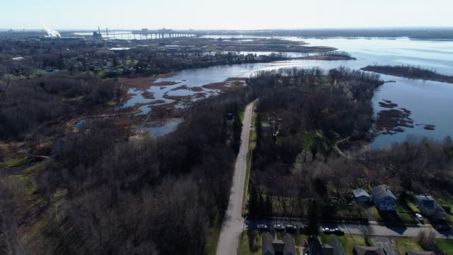 Duluth city at the Lake Superior, at the border of Minnesota and Wisconsin. Aerial video with the cinematic complex panoramic-forward camera motion.