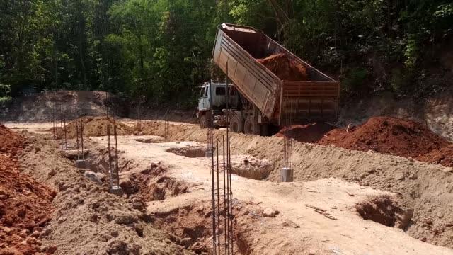 dump truck loading the sand