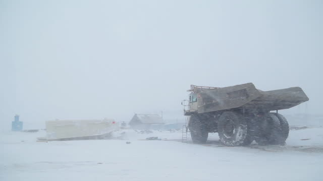 A dump truck stands on a winter coal mine A dump truck stands on a winter coal mine. Tipper awaiting repair construction equipment stock videos & royalty-free footage