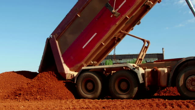 Dumper truck unloading ore for manufacturing plant Dumper truck unloading ore for manufacturing plant dump truck stock videos & royalty-free footage