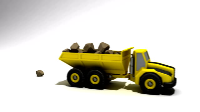 Dumptruck filled and dumping a bunch of rocks video