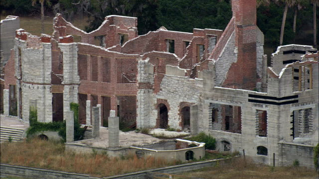 Dungeness Mansion Ruins  - Aerial View - Georgia,  Camden County,  United States video