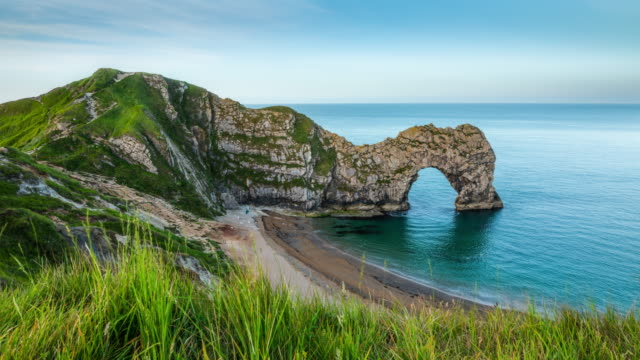 durdle door, jurassic coastline, dorset, england.- time lapse - england stock videos & royalty-free footage