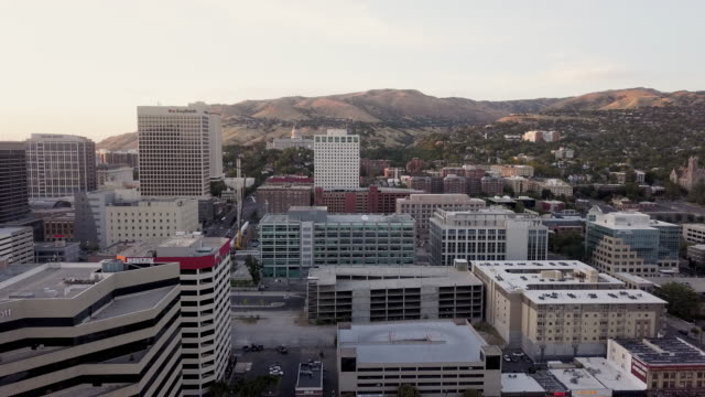 Dusk Aerial Clip of Skyscrapers State Capitol Building in the Downtown Financial District of Salt Lake City