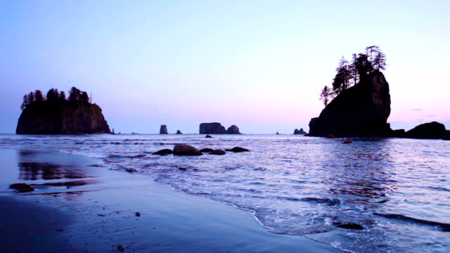 Dusk at Second Beach on the Olympic Peninsula, Washington, USA video
