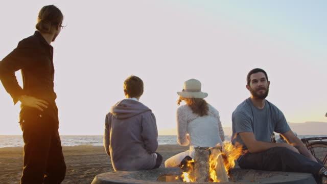 Dusk Beach Bonfire - video