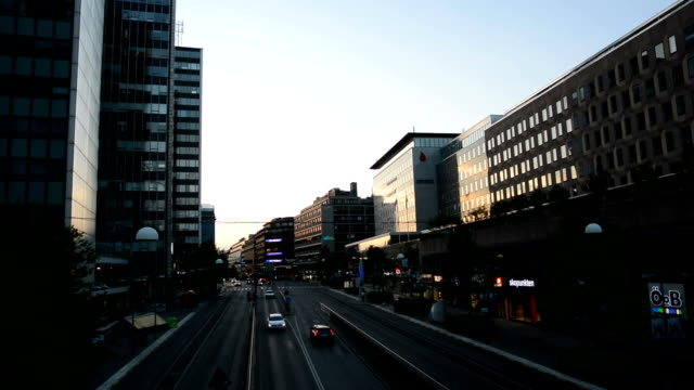Dusk City Traffic City street in Stockholm, Sweden office park stock videos & royalty-free footage