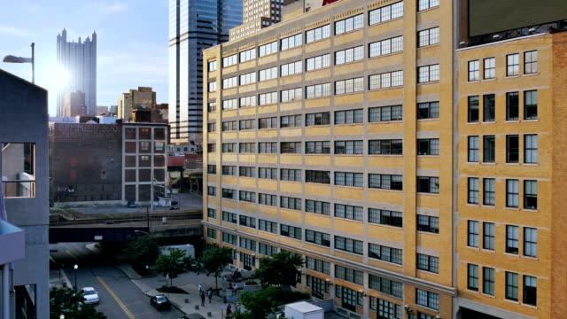 Dusk Establishing Shot of Pittsburgh Apartment or Office Building video
