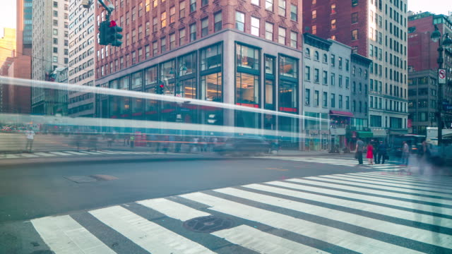 dusk manhattan traffic crossroad 4k time lapse from new york video