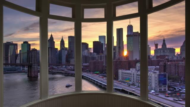 Dusk New York cityscape time lapse window panorama cityscape Manhattan video