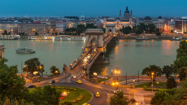 Dusk to Night Time Lapse of at Chain Bridge, Budapest 4K Aerial Dusk to Night Time Lapse Video of Crowd walking and Vehical Passing at Chain Bridge during summer season, Prague, Czech hungary stock videos & royalty-free footage