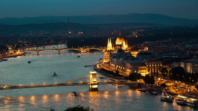 Dusk to Night Time Lapse of Cityscape at Budapest, Hungary 4K Aerial Dusk to Night Time Lapse video of Cityscape at Budapest, Hungary with Chain bridge and Parliament in background hungary stock videos & royalty-free footage