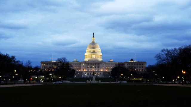 dusk view of the us capitol building in washington