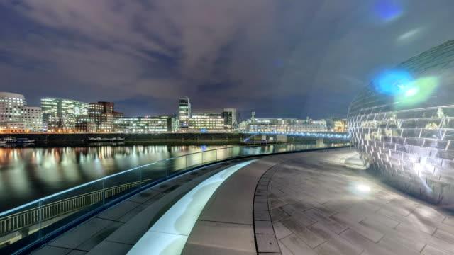 Dusseldorf at dusk. 360 degree panoramic seamless video loop video