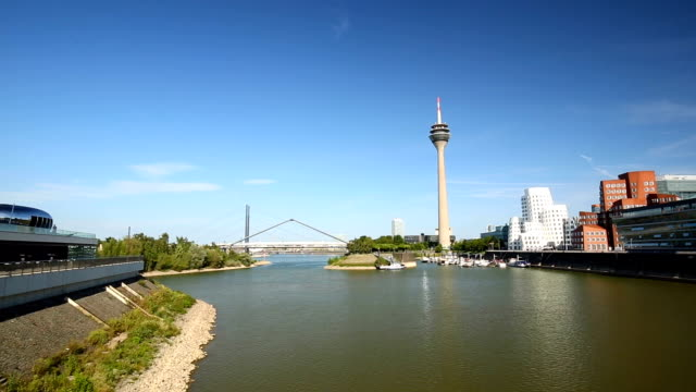 Dusseldorf Skyline with bridge, Panning video