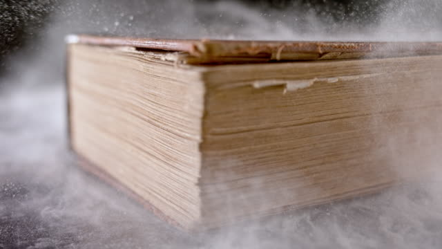 SLO MO LD Dust flying off an old book falling on the table