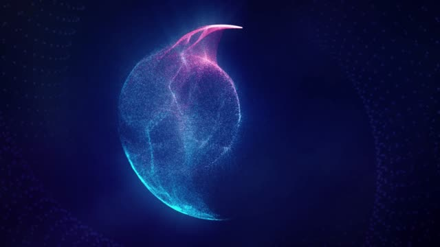 Dust particles trapped in a blue and pink light circle