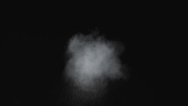 Dusty bullet hits on a wall, white powder explosion VFX elements.