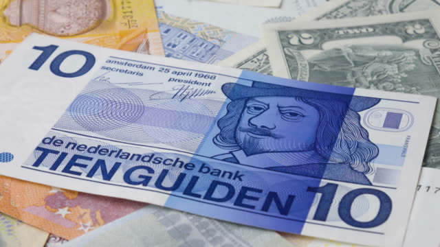 Dutch Banknote Turning 2 Clips In 1 Stock Footage Slow & Fast. video