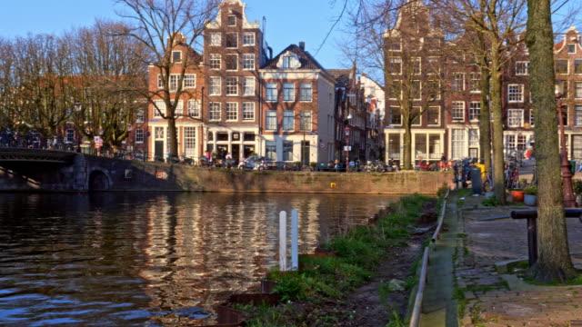 Dutch canal houses pan shot.