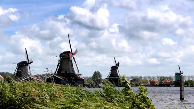 Dutch wind mills at the Zaanse Schans in Holland video