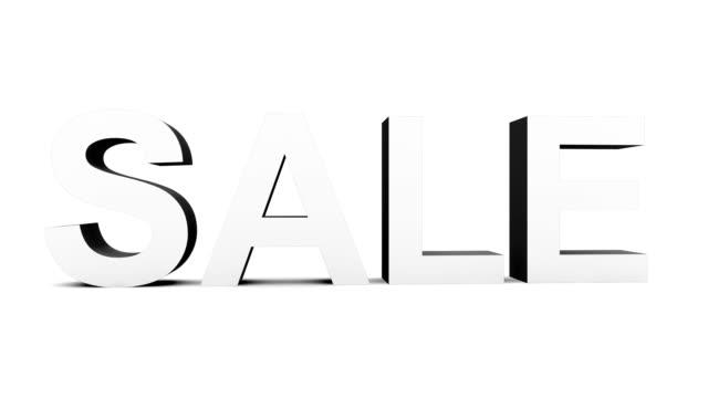 vídeos de stock, filmes e b-roll de sale dinâmica - 30 qps loop com alpha matte, antes considerada em preto, pronto para composições em preto e branco em branco 3d letras rotação - característica arquitetônica