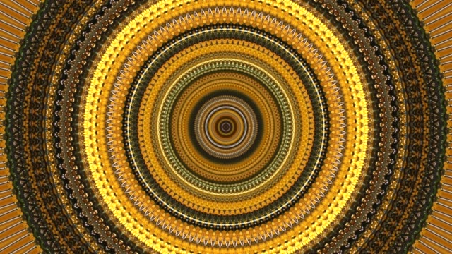 dynamic abstract background with kaleidoscope movements forming zigzag and spiral  with circles and rotation turns in colors yellow, brown and orange - mandala filmów i materiałów b-roll