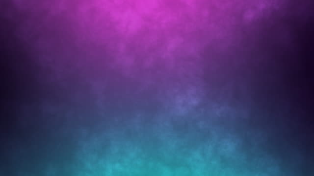Dynamic abstract foggy background. Neon colors pink and blue light up the moving smoke