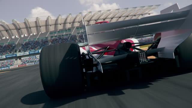 dynamiczny widok z tyłu ogólnej formuły 1 jazdy samochodem wyścigowym - goni samochód pov - start filmów i materiałów b-roll