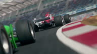 istock Dynamic rear view of a generic green formula one race car chasing the leader 1287173607