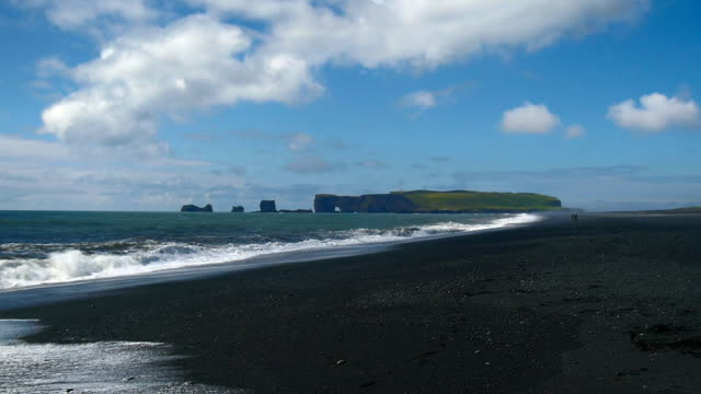 Dyrholaey, volcanic beach on the south coast of Iceland. video