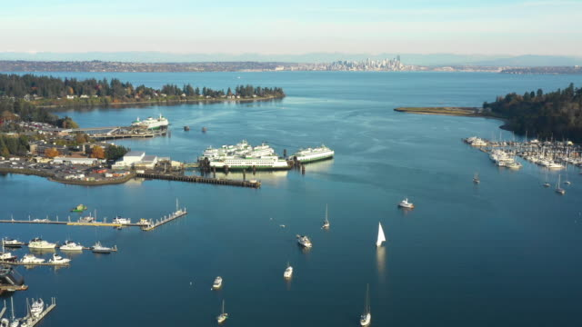 Eagle Harbor Ferry Terminal Bainbridge Island Washington Aerial View of Seattle in Background