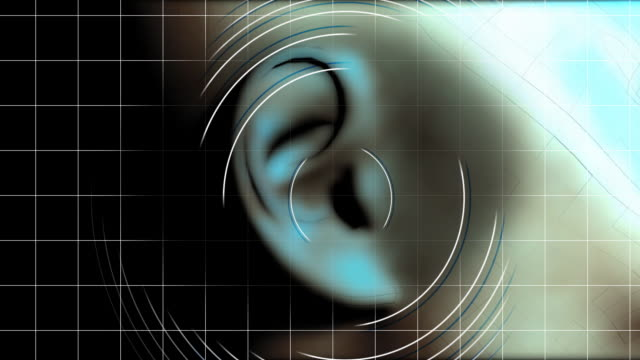 stockvideo's en b-roll-footage met ear hearing waves - ear