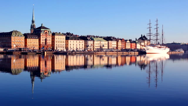 Early morning in old town Stockholm city, Sweden video