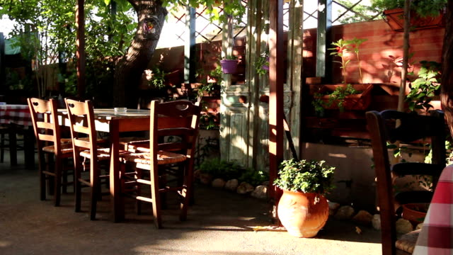 Early morning in outside traditional tavern restaurant video