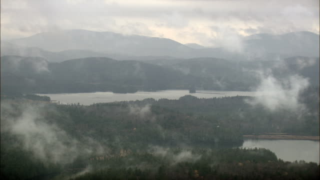 Early Morning In Saranac Lakes Wild Forest - Aerial View - New York,  St. Lawrence County,  United States video