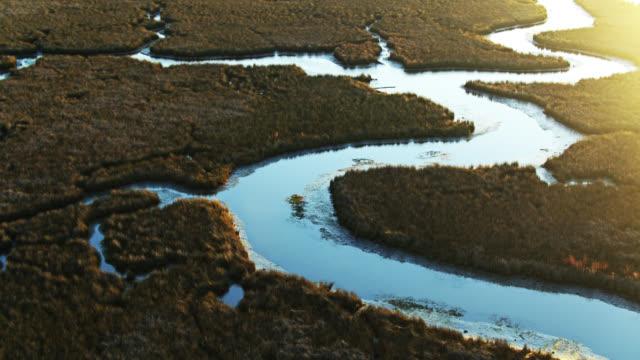 vídeos de stock, filmes e b-roll de luz do sol da manhã brilhando no delta do rio pascagoula, mississippi - américa do norte