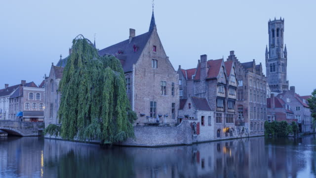 Early Morning Timelapse of Canals, Houses, Rozenhoedkaai and Belfry of Bruges, Belgium